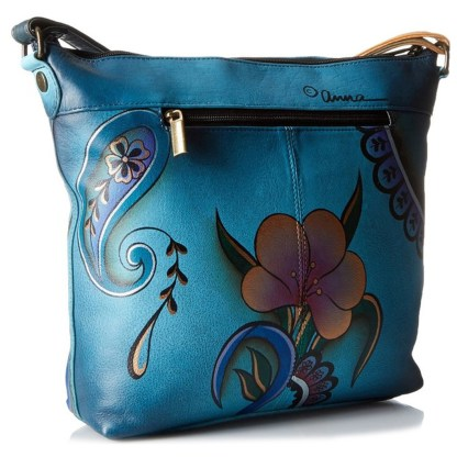 Anna by Anuschka Travel Organiser Crossbody Gusset Zip Denim Paisley Floral