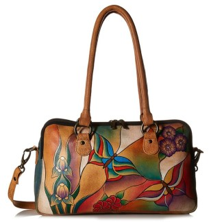 Anna by Anuschka Satchel Hanbdag Multi Compartment Butterfly Glass Painting