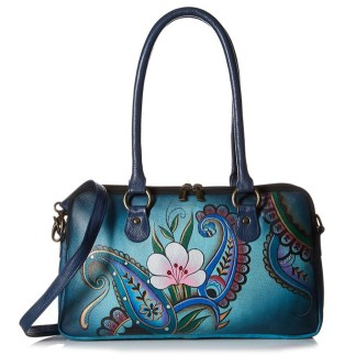 Anna by Anuschka Satchel Hanbdag Multi Compartment Denim Paisley Floral