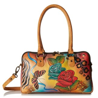 Anna by Anuschka Satchel Hanbdag Multi Compartment Rose Safari