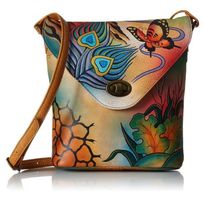 Anna by Anuschka Shoulder Cross Body Bag Tall w Flap peacock Collage