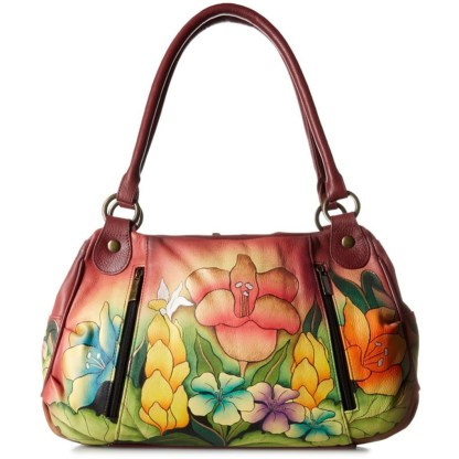 Anna by Anuschka Satchel Hanbdag Ruched Safari Bloom