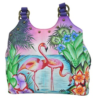 Anna by Anuschka Hobo Hanbdag Med U-Top Tropical Flamingo