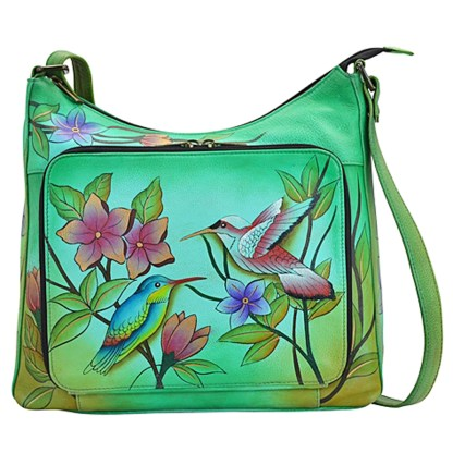 Anna by Anuschka Travel Organiser Crossbody V-Top Birds in Paradise Green