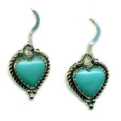 Large Genuine Turquoise Heart Sterling Silver Earrings USA Western