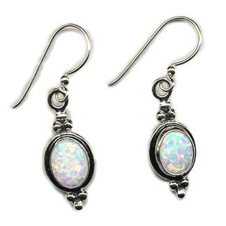 OPAL Sterling Silver 925 Dangle Earrings Beaded
