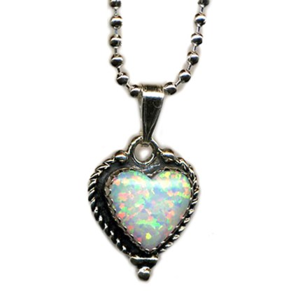 """Large Fire Opal Heart Charm Silver 925 Necklace 18"""""""