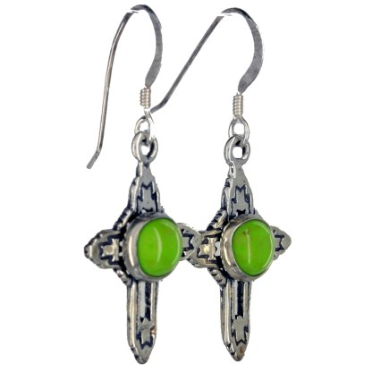 Western Cross Genuine Stone Center Sterling Silver Drop Earrings Gaspeite