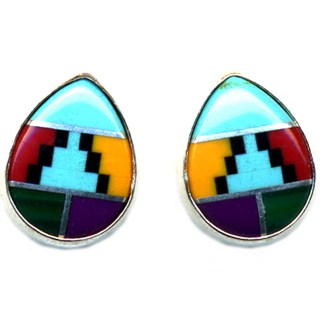 Teardrop Navajo Multicolor Genuine Stones Inlay Sterling Silver Post Earrings