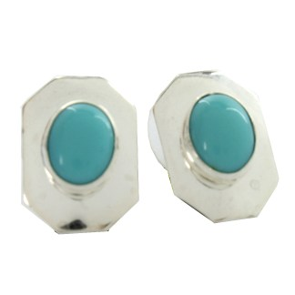 Oval Shaped Genuine Turquoise Octagon Sterling Silver .925 Frame Dangle Earrings