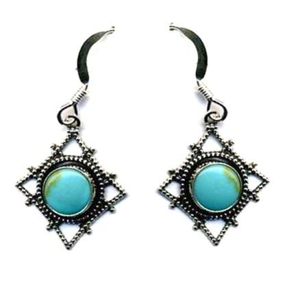 Genuine Turquoise Diamond Web Silver Filigree Earrings