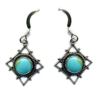 Genuine Turquoise Diamond Web Silver Filigree Earrings