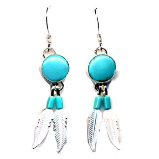 Genuine Turquoise Sterling Silver Dangle Feathered ER