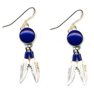 Genuine Lapis Lasuli Sterling Silver Feather Dangle Earrings