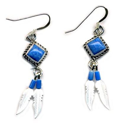 Genuine Lapis Lasuli Beaded Sterling Silver Feather Dangle Earrings