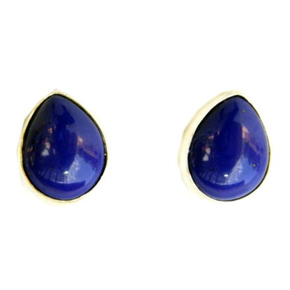 Genuine Lapis Lazuli Bezel Set Sterling Silver Teardrop Post Earrings