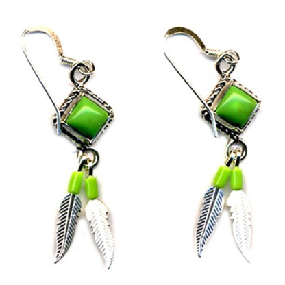 Genuine Gaspeite Beaded Sterling Silver Feather Dangle Earrings