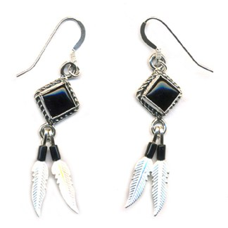 Genuine Onyx Beaded Sterling Silver Feather Dangle Earrings