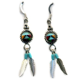 Genuine Stones Sterling Silver Feather Dangle  Earrings Navajo Multicolor  Inlay