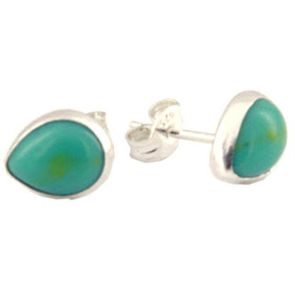Sterling Silver Teardrop Post Earrings Genuine Cabochon Stone Turquoise