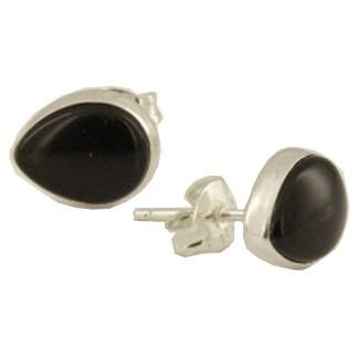 Sterling Silver Teardrop Post Earrings Genuine Cabochon Stone Onyx