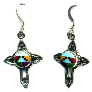 Small Cross Drop Earrings Navajo Multicolor Inlay Stone
