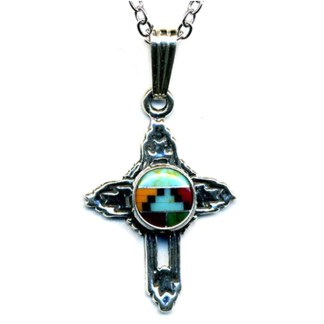 Small Cross Charm Necklace Navajo Multicolor Inlay Stone