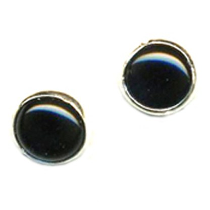 8mm Round Black Genuine Onyx Cabshon Stone Sterling Silver Post Earrings