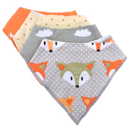 Baby Bandana Drool Bib Organic Absorbent Cotton Gift Set of 4 by Fashionista Babies Foxes & Dotes