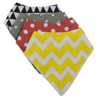 Baby Bandana Drool Bib Organic Absorbent Cotton Gift Set of 4 by Fashionista Babies Will Love Geometry