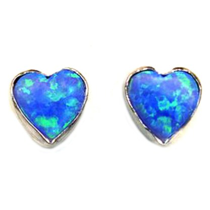 Heart Love Intense Blue Sparkly Fire Opal Stone Silver 925 Post Earrings 6 MM