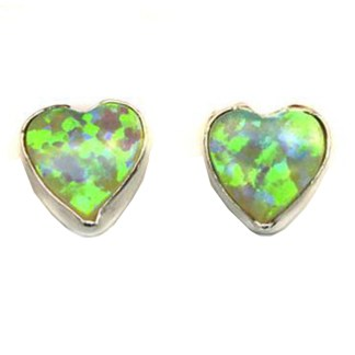 Heart & Love Light Green Sparkly Fire Opal Stone Silver 925 Post Earrings 6 MM