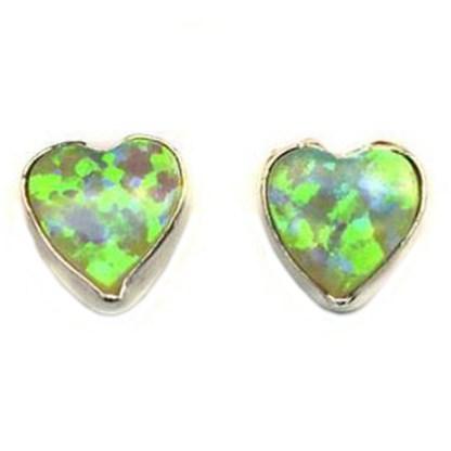 Heart & Love Light Green Sparkly Fire Opal Stone Silver 925 Post Earrings 6 MM
