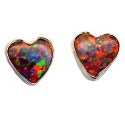 Heart & Love Red Sparkly Fire Opal Stone Sterling Silver 925 Post Earrings 6 MM