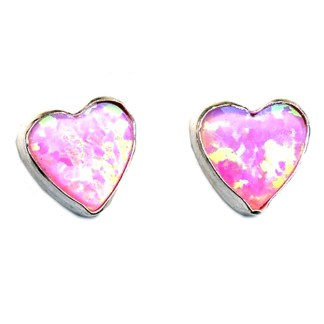 6 mm Heart Shaped Pink Opal Stone Sterling Silver .925 Stud Post Earrings