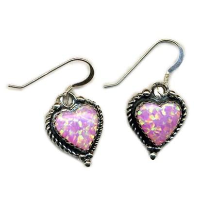 HOT PINK Opal Heart Sterling Silver Earrings