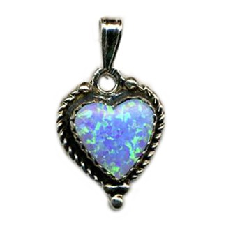 LIGHT BLUE Opal Heart SILVER 925 Necklace 18""