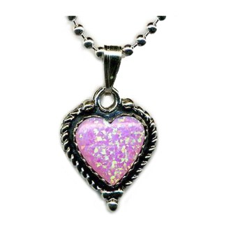 HOT PINK Opal Heart SILVER 925 Necklace 18""