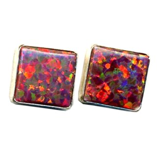 Red Fire Opal Sterling Square Post Earrings 8mm