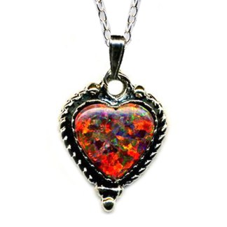 Red Fire Opal Heart SILVER 925 Necklace 18""
