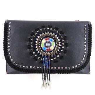 American Bling Clutch Crossbody Shoulder Handbag Built in Wallet Black Dreamcatcher