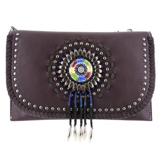 American Bling Clutch Crossbody Shoulder Handbag Built in Wallet Coffee Dreamcatcher