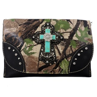 American Bling Clutch Crossbody Shoulder Handbag Built in Wallet Green Camo Cross
