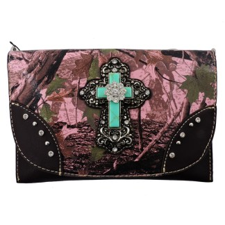American Bling Clutch Crossbody Shoulder Handbag Built in Wallet Pink Camo Cross