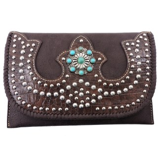 American Bling Clutch Crossbody Shoulder Handbag Built in Wallet Coffe Bling