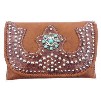 American Bling Clutch Crossbody Shoulder Handbag Built in Wallet Brown Bling
