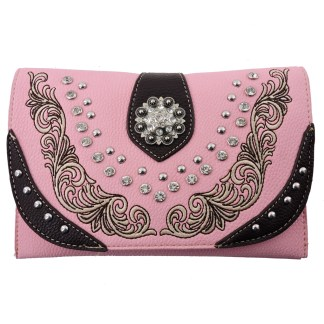 American Bling Clutch Crossbody Shoulder Handbag Built in Wallet Pink Black