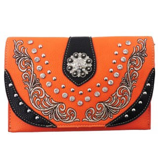 American Bling Clutch Crossbody Shoulder Handbag Built in Wallet Orange Black