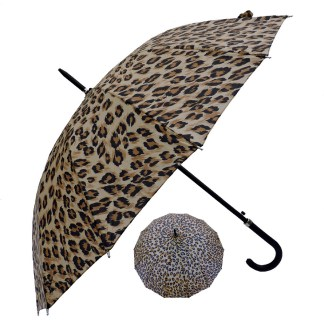 "Rain or  Sun UV Protection Umbrella Silver Fever ® 42"" Canopy Coverage Windproof Leopard Print"