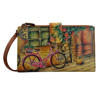 Anuschka Leather Large Smart Phone Case & Wallet Bag Holiday Gift Vintage Bike Large